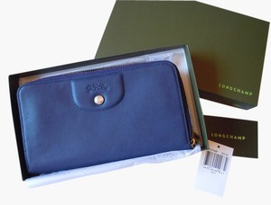 Longchamp Longchamp Le Pliage Cuir Large Zip Around Wallet indigo NEW
