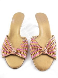 Cole Haan Womens Woven Leather Low Heel Sandals Heels 9b Gold, Orange, Pink Mules