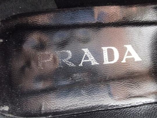 Prada Womens Leather Logo Buckle Loafers Heels Eu Green Flats