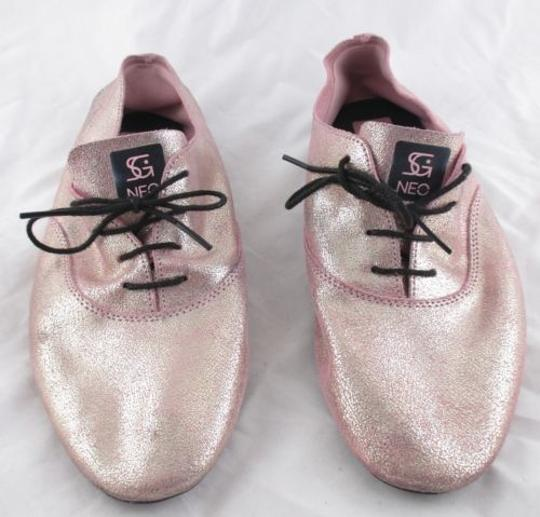 adidas Neo Selena Gomez Shimmer Leather Oxford Ballet Pink Flats