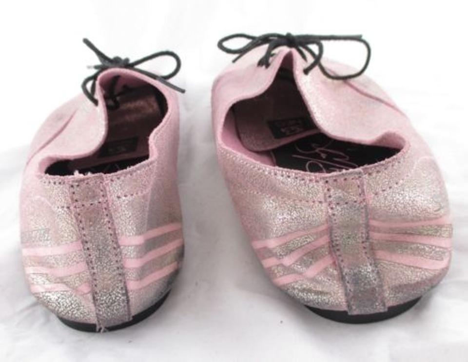 Adidas Neo Selena Gomez Pink Shimmer Leather Oxford Ballet Flats Shoes