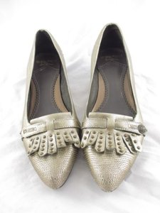 Sam Edelman Se Boutique Anthropologie Metallic Fringe Stud Heels Gold Pumps