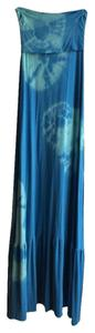 Aqua Turquoise Maxi Dress by LOVE TANJANE Tie Dye Tube Strapless Cover Up Maxi