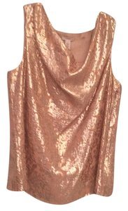 J.Crew Metallic Draped Sleeveless Top Gold flock