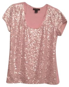 White House | Black Market Sequin T Shirt Rose peach
