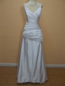 Eden White Satin Sl003 Formal Wedding Dress Size 8 (M)
