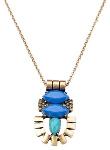 Other Deco Modern Neutral Blue Stone Pendant Necklace