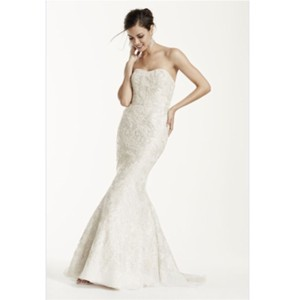 Galina Strapless Trumpet Wedding Gown With Gold Lace Wedding Dress