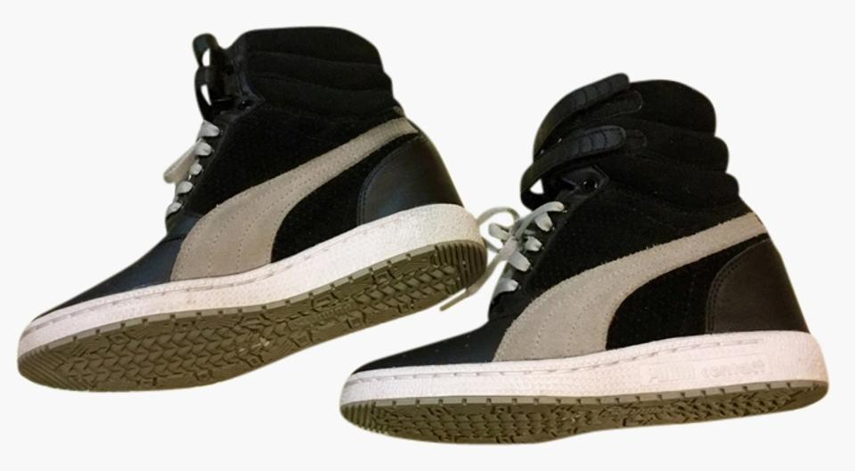 eb805a8092 Puma Leather/Suede Hidden Wedge Heel High-top Sneaker Black/Gray Athletic  Image ...