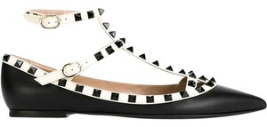 Valentino Rockstuds Ballerina New Gavarani Black and White Flats