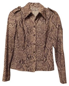 Laundry by Shelli Segal Snakeskin Print Button Down Shirt Off-White & Taupe