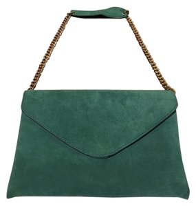 J.Crew Suede Leather Teal Chainlink Peacock (Teal) Clutch