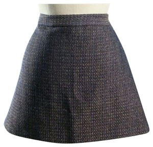 Alice + Olivia Mini Skirt Blue Bronze Metallic