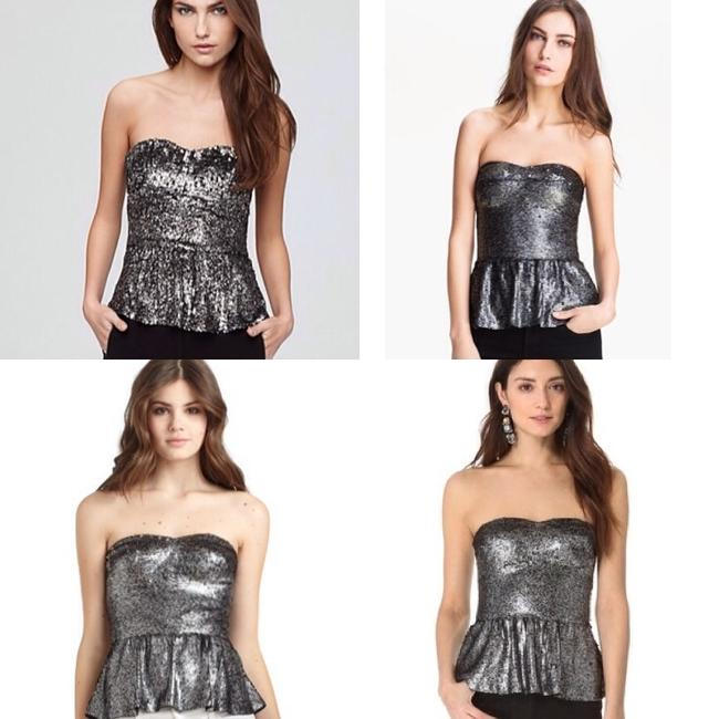 Rebecca Taylor Rebbeca Alice Olivia Joie Joey Theory Bustier Zip Black Sweetheart Sweet Heart Peplum Evening Glam Sequence Sequin + Top Silver