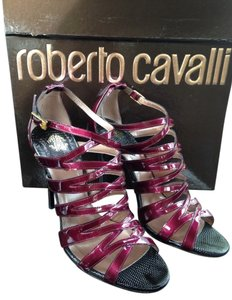 Roberto Cavalli Burgundy Red Black Aubergine Sandals