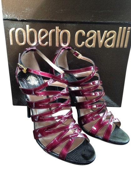 Roberto Cavalli Burgundy Red Black Christian Louboutin Manolo Jimmy Choo Christian Cl Strappy Stiletto Leather Lace Up Heel Heels High Aubergine Sandals