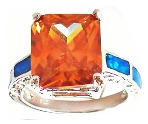 Beautiful Golden Imperial Topaz, Opal in 925 Sterling Silver Ring 7