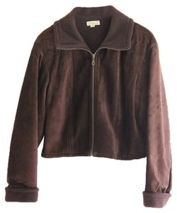 Ann Taylor Leather Chocolate Brown suede Leather Jacket