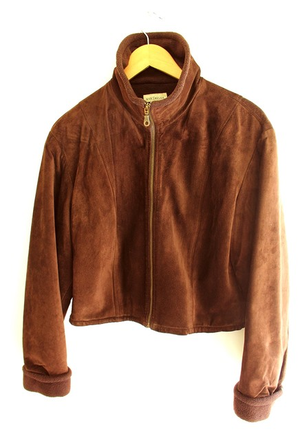 Ann Taylor Chocolate Brown suede Leather Jacket