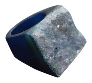 Navy Blue Druzy Ring