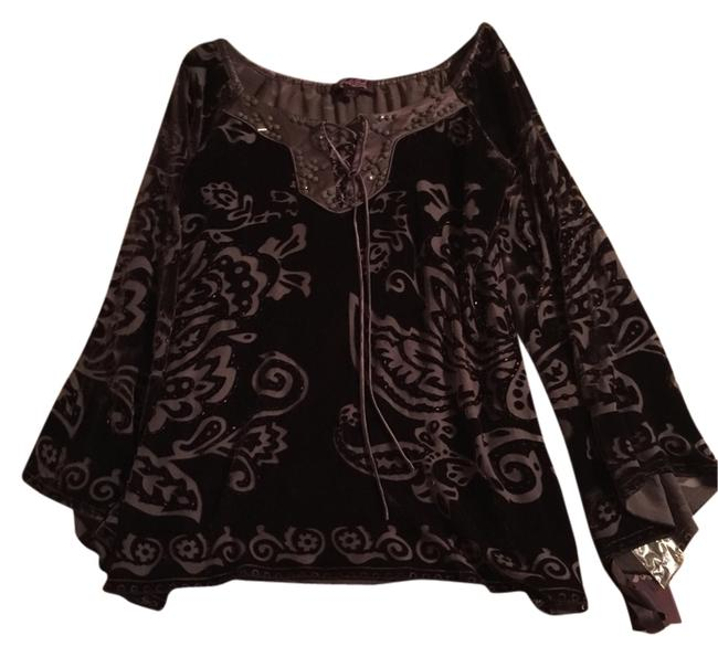 Item - Brown XS New with Tags Embellished Beaded Velvet Burnout Tunic Size 2 (XS)