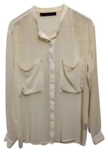 Patterson J. Kincaid Oversized Oversize Sheer Button Down Shirt White