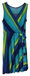 Sandra Darren short dress Blue, green, yellow on Tradesy