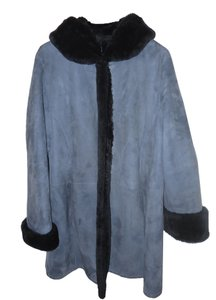Pellacci Blue Shearling Leather Jacket