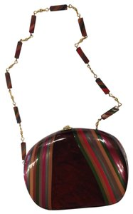 Other Lucite 70's Vintage Stripes Cross Body Eclectic Multicolor Clutch