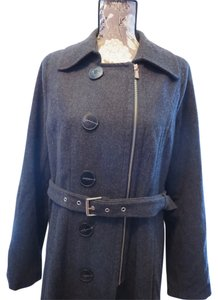 Isaac Mizrahi Vintage Zipper Pockets Wool Wool Blend Belt Jacket Trench Winter Fall Trench Coat