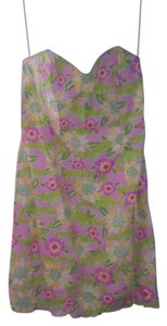 Lilly Pulitzer short dress pink, yellow, green Strapless on Tradesy