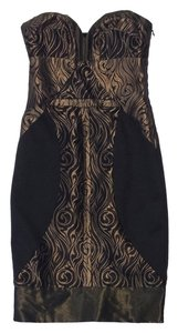 Nicole Miller short dress Black Bronze Print Strapless on Tradesy