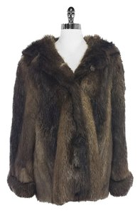 Nina Ricci Brown Beaver Fur Fur Fur Coat