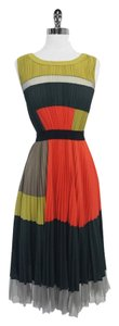 BCBGMAXAZRIA Abie Green Orange Pleated Dress