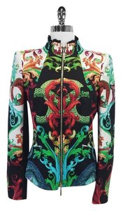 Roberto Cavalli Multi Color Print Silk Jacket