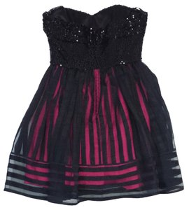 Betsey Johnson short dress Black Fuchsia Sequin Strapless on Tradesy