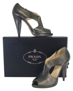 Prada Grey Leather Peep Toe Heels Sandals
