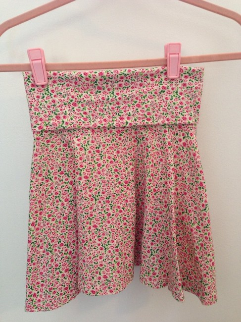 American Apparel Skirt Small Pink Tea Rose On Cream