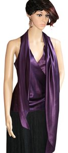 Lauren Ralph Lauren Silk Tie Sleeveless Women Clothing Evening Special Occasion Plum Royal Asymmetrical Ruching Wrap Scarf Versatile Top Purple