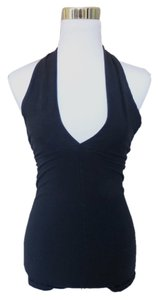 American Apparel Body Suit Leotard Black Halter Top