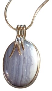 Blue Lace Agate Gemstone Pendant Necklace in Sterling Silver Design NEW