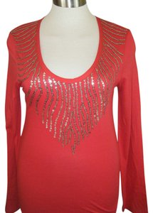 Calvin Klein T Shirt RED W SEQUINS