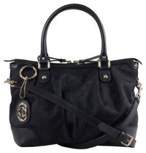 Gucci Tophandle Sukey Monogram Gg Satchel in Black