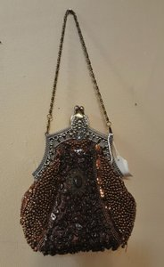 Vintage Style Brown Beaded Bag