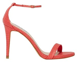 Steve Madden Stecy Stacy Sexy Heel Heels Snake Print Leather Size 9 Coral Sandals