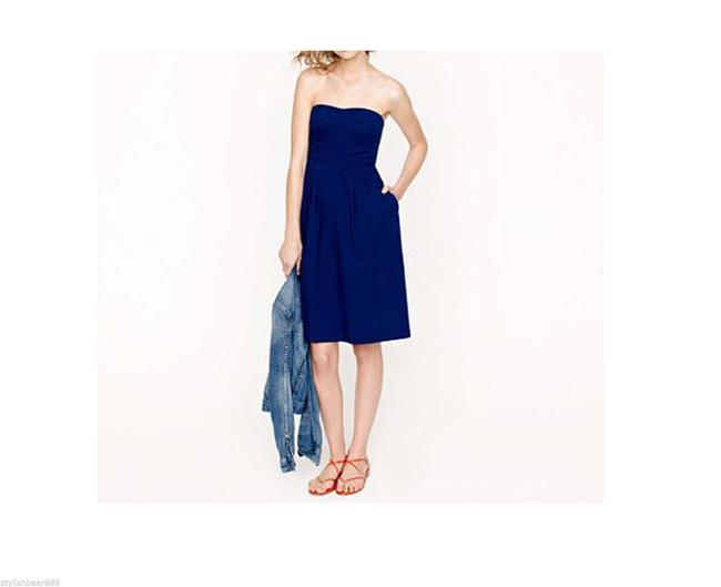 J.Crew short dress Navy Blue Cotton Summer Strapless on Tradesy