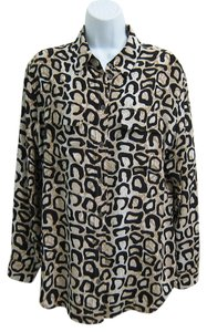 Equipment Print Silk Button Down Shirt Leopard