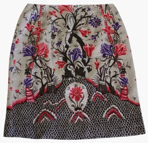 W by Worth Silk Cotton Floral Mini Skirt multi