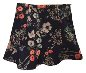 Zara Mini Skirt Navy, pink, white, and green