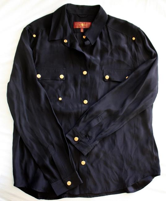 7 For All Mankind Silk Shirt Top Navy
